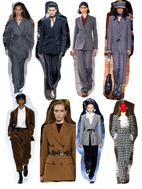 2019 Autumn/Winter Suting Trend Edit showing different looks on the catwalks