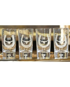 RAWHIDE LARGE GLASS TUMBLERS SET WITH HORSESHOE AND LONGHORN