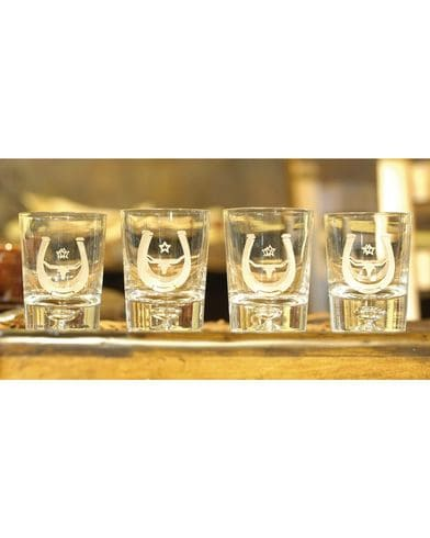 RAWHIDE SMALL GLASS TUMBLERS WITH HORSESHOE AND LONGHORN