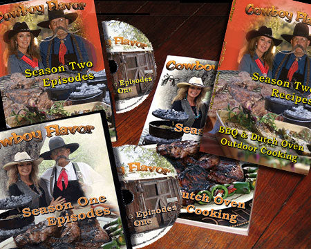COWBOY OUTDOOR COOKING DVD's AND COOKBOOKS - TWO SEASONS OF SHOWS