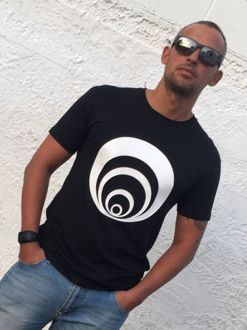 Mens Black T- shirt with white circle Print. custom design that_kiwi New zealand streetwear label