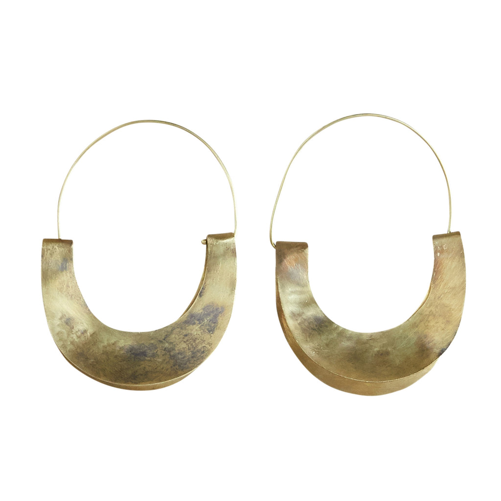 YUCCA EARRING - CRESCENT, BRASS