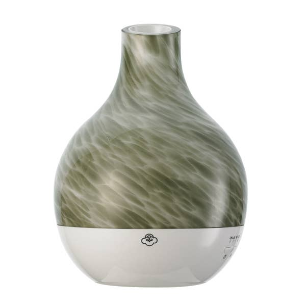 Serene House Chimney Marble Green Glass Essential Oil Diffuser w/ Lights