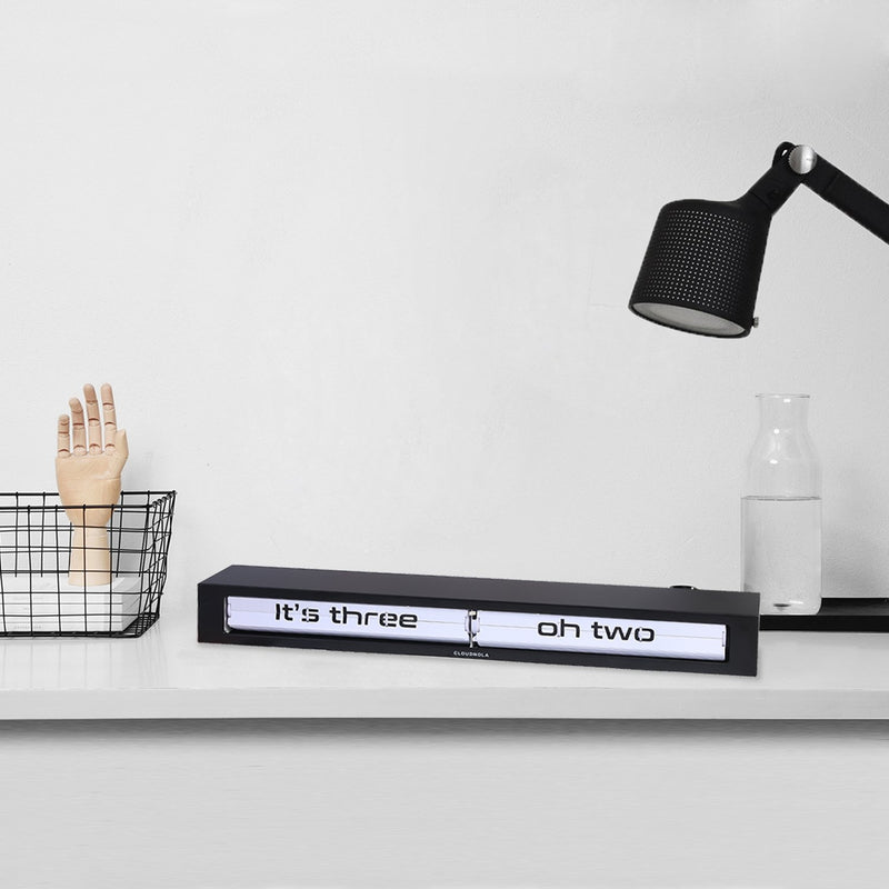 Cloudnola Texttime Black and White Wall/Desk/Mantel Clock