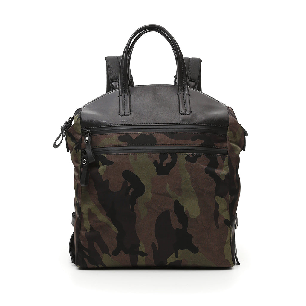 Campomaggi Backpack in military green camouflage+black nylon Firenze