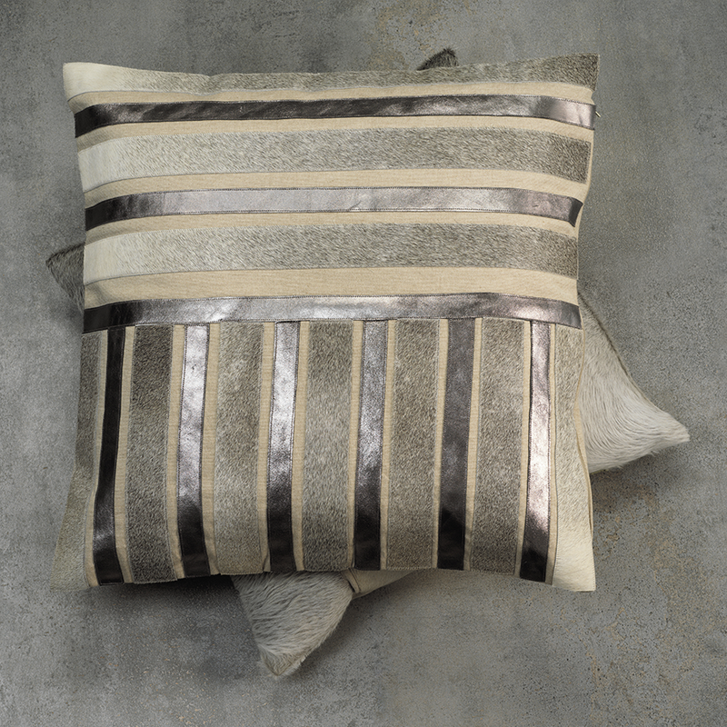 Aman Cotton Throw Pillow with Hair On and Pewter Metallic Leather