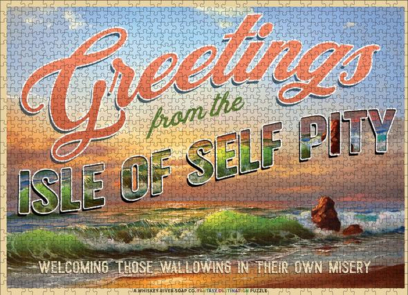 Whiskey River Soap Co. Greetings from The Isle of Self Pity Puzzle