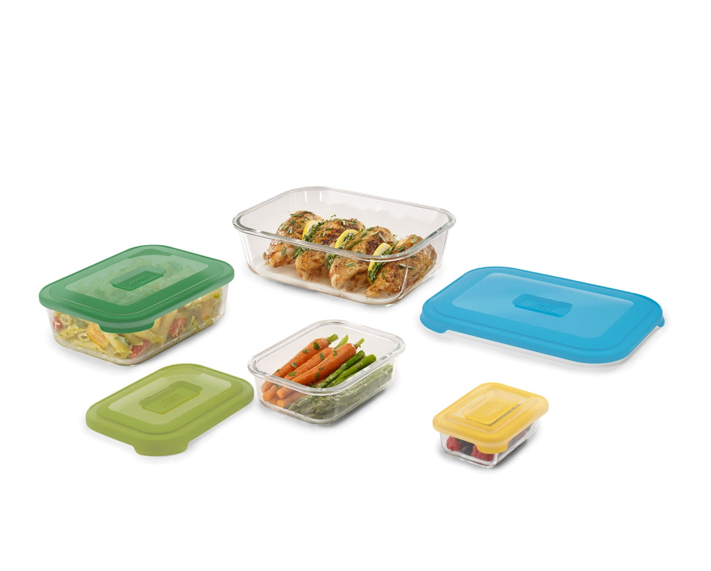Joseph Joseph Nest™ Glass Storage 8-piece Storage Container Set With Snap Together Lids