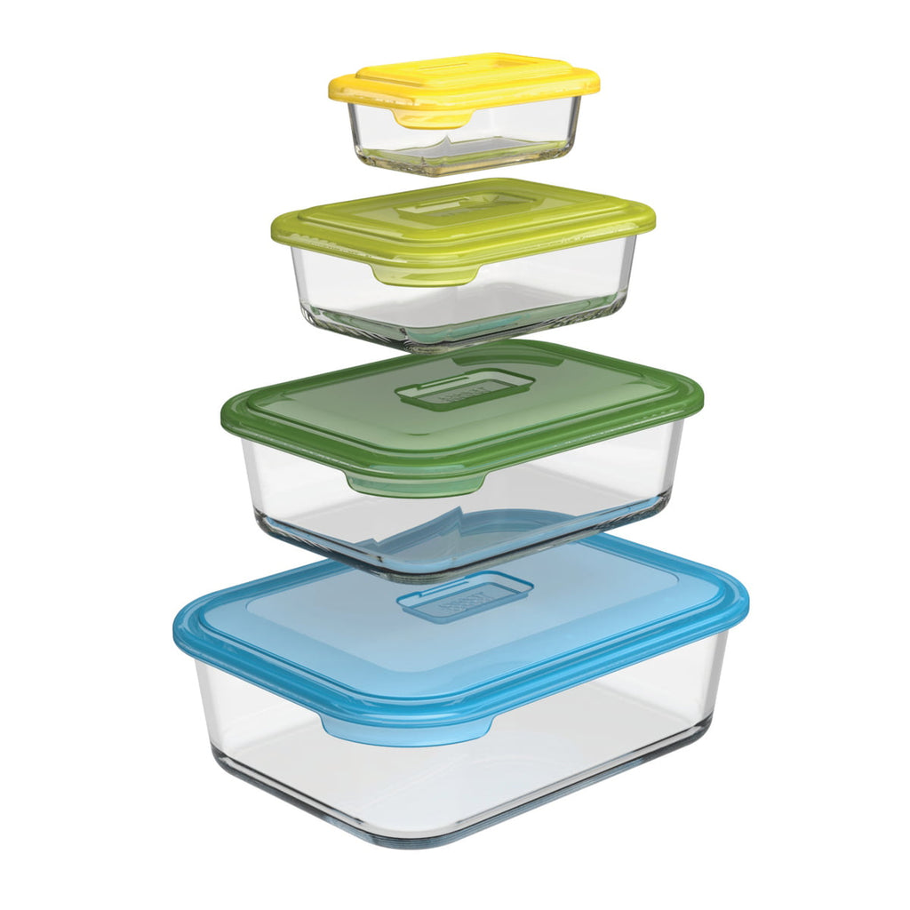 Joseph Joseph Nest Glass Storage 8-piece Storage Container Set With Snap Together Lids