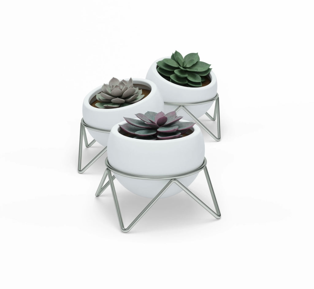 Umbra Potsy Planter Set of 3 White / Nickel