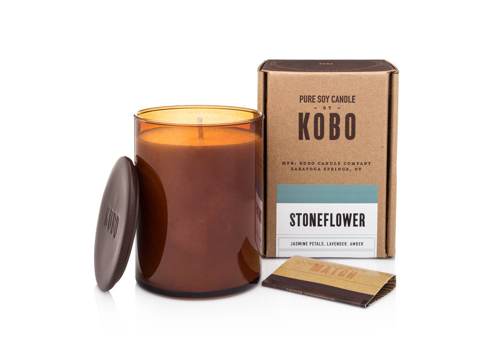 KOBO Pure Soy Candles Dark Cassis, Stone Flower, Bourbon 1792