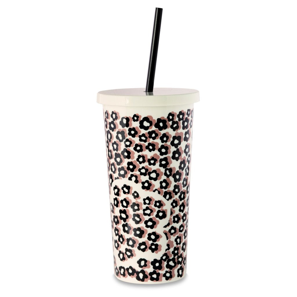 Kate Spade New York Insulated Tumbler with Straw, Flair Flora