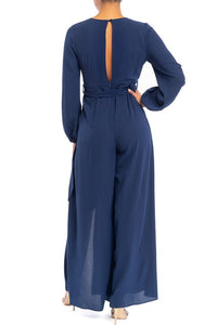 Josie Long Sleeve Split Leg Jumpsuit in Navy