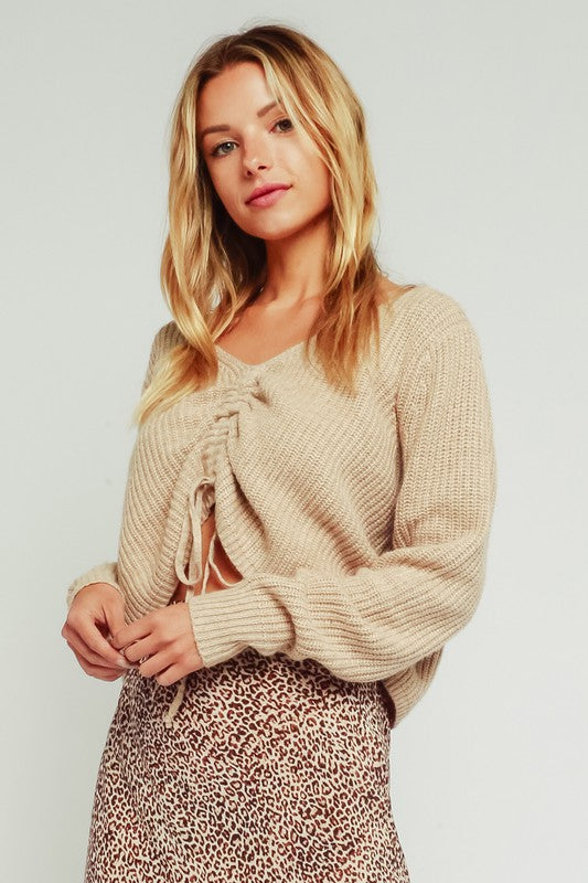 Cara Cinched Front Sweater in Oatmeal