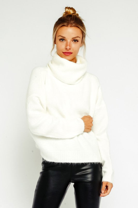 Eden Open Back Fuzzy Turtleneck Sweater in Ivory