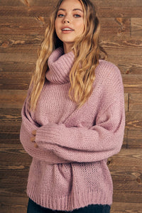 Dellia Turtleneck Sweater in Dusty Pink