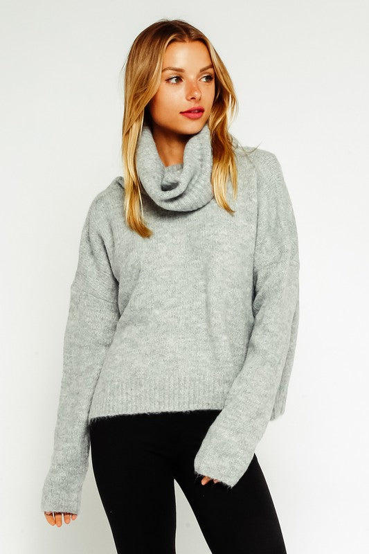 Eden Open Back Fuzzy Turtleneck Sweater in Grey