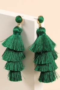 Whitney Tiered Tassel Earrings in Kelly Green