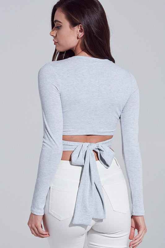 Tanner Tie Top in Heather Grey