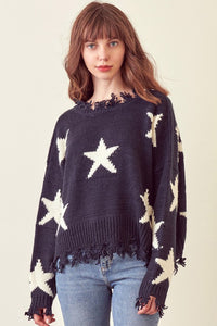 Sloane Distressed Star Sweater in Navy/Ivory