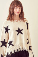 Sloane Distressed Star Sweater in Ivory/Black