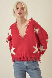 Sloane Distressed Star Sweater in Red/White