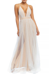 Tayci Tulle Maxi Dress in White/Nude