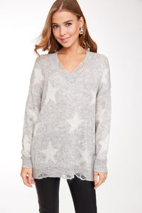 Counting Stars Distressed Knit Sweater