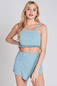 Savvy Fringe Linen Set in Chambray