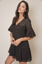 Elena Eyelet Babydoll Dress in Black