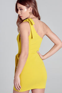 Luca Lime Yellow Tie Dress