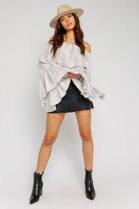 Sisanie Off The Shoulder Ruffle Snake Top