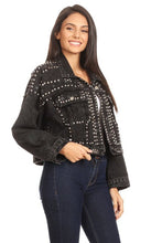 Elsie Stud Embellished Jean Jacket in Black