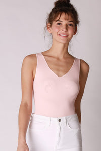 Brooke Baby Pink Ribbed Bodysuit