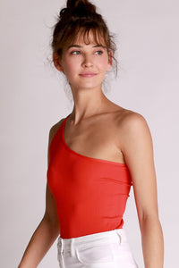 Ryan Ribbed One Shoulder Bodysuit in Fiery Red
