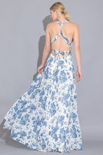 Willa Floral Wrap Maxi Dress in Blue/White