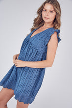 Em Eyelet Pocketed Romper in Steel Blue
