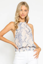 Behati Blue Snake Smocked Halter Top