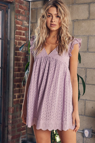 Em Eyelet Pocketed Romper in Lavender