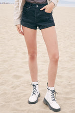 Della Black Leopard Denim Shorts
