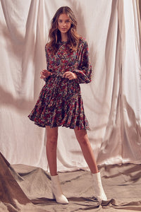 Miranda Mixed Floral Belted Balloon Sleeve Dress
