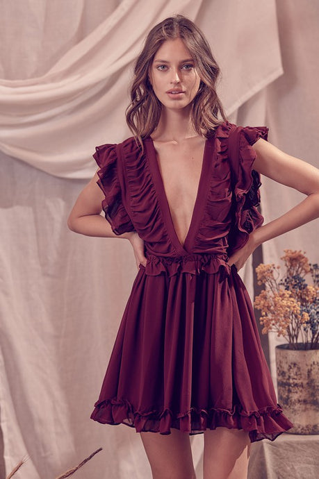 Rena Ruffled V-Neck Dress in Burgundy