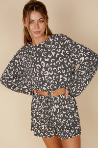 Baylee Leopard Lounge Set in Vintage Black