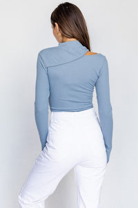 Dylan Cut Out Bodysuit in Dusty Blue