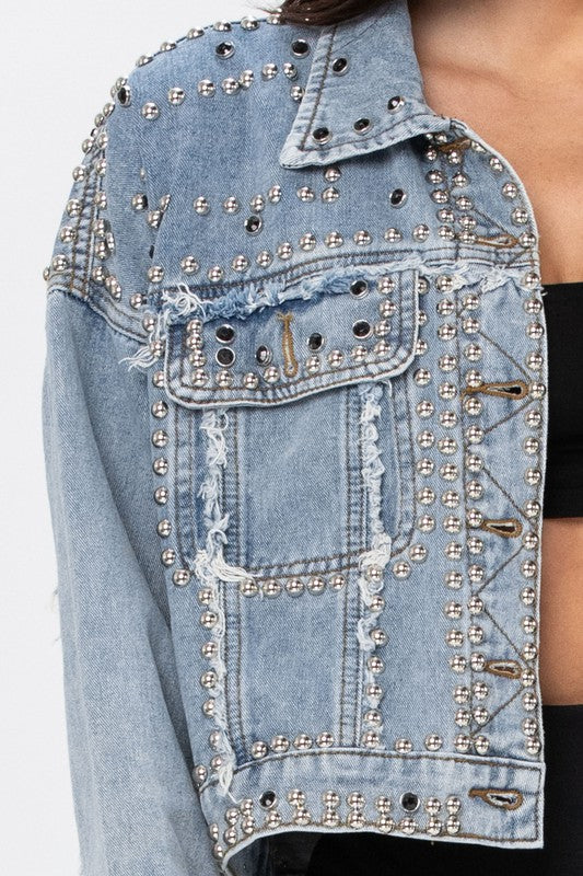 Elsie Stud Embellished Jean Jacket in Light Blue Denim