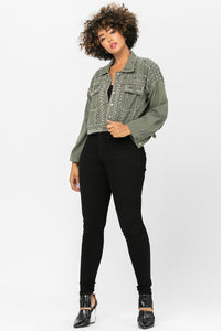 Elsie Stud Embellished Jean Jacket in Army Green