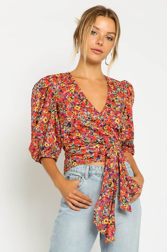 Fiona Floral Wrap Top