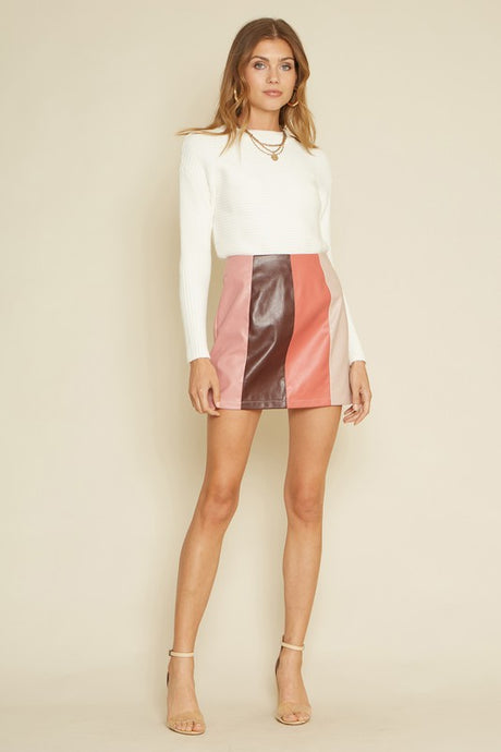 Candice Leather Colorblock Skirt