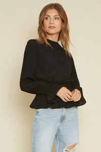 Camille Cinched Blouse in Black