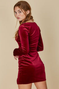 Veda Velvet Square Neck Dress in Red